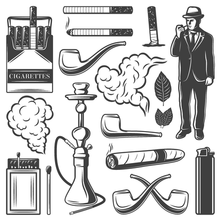 Vintage smoking elements collection with cigarettes gentleman, hookah, pipes, matches, lighter, cigar, tobacco and leaves isolated vector illustration