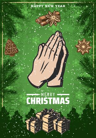 Vintage Colored Christmas Festive Poster. Illustration
