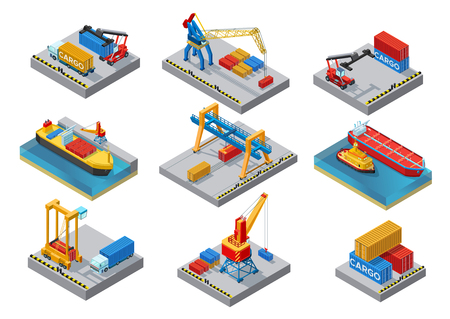 Isometric Sea Port Elements Set.