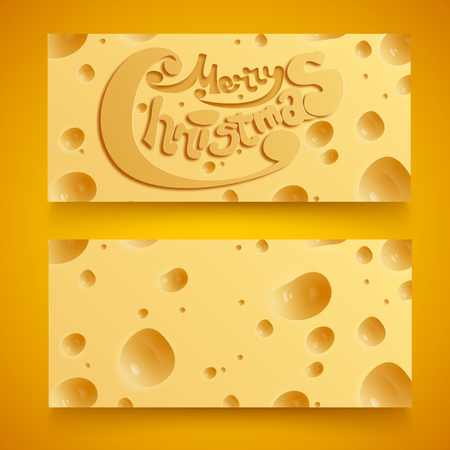 Abstract Christmas horizontal banners with porous cheese background and greeting inscription isolated vector illustration