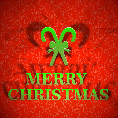 Merry christmsa greeting written on bright red crumpled paper background flat vector illustration Illustration