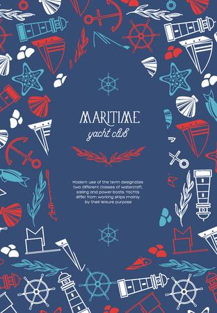 Maritieme ovale jachtclub poster verdeeld over twee delen waar de naam van de jachtclub is en veel maritieme elementen zoals coquille, zeewier, stenen op de blauwe achtergrond als een zee vectorillustratie
