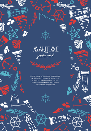 Maritime oval yacht club poster divided on two parts where there is  the name of yacht club and many maritime elements such as coquille, seaweed, stones on the blue background as a sea vector illustration