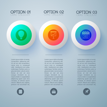 Infographic design concept with three text columns available for editing each with appropriate round business icon vector illustration Ilustração
