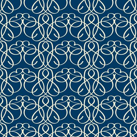 어두운 파란색 배경에 기발한 선형 비녜 트 장식 빈티지 원활한 패턴 평면 벡터 일러스트 레이 션