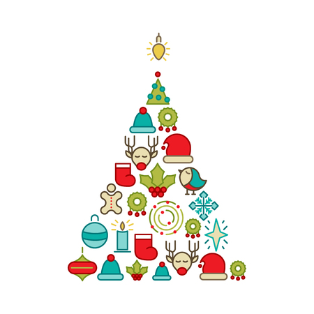Christmas and Happy New Year icons set in the form of christmas tree with collection of different objects such as deer, bird, star, hat vector illustration Stock Illustratie