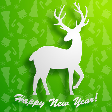 Beautiful deer silhouette on green new year background with winter symbols pattern flat vector illustration