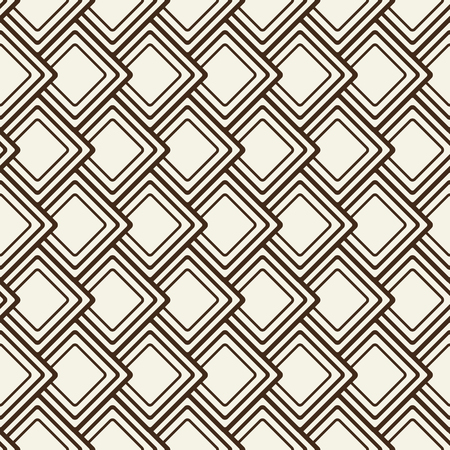 Abstract monochrome borderless pattern with geometric ornament composed of square shape flakes flat illustration.