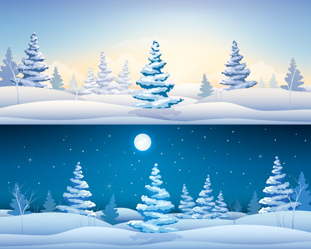 Beautiful winter horizontal banners with fairy landscape snowy fir trees at day and night time vector illustration