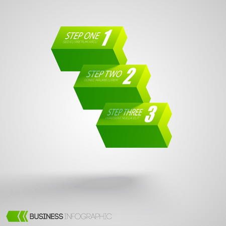Web business abstract infographics with three green horizontal bricks on light background isolated vector illustration