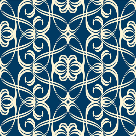Vintage seamless pattern in baroque style with white intersecting swirl ribbons on blue background flat vector illustration  Stock Illustratie