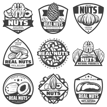 Vintage Monochrome Natural Nuts Labels Set Imagens - 91811026