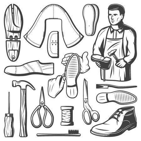 빈티지 Shoemaking 요소 세트