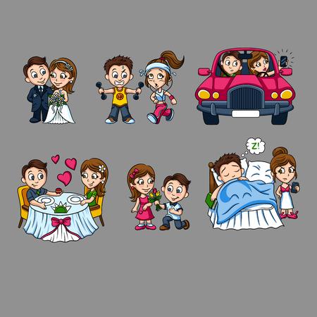 Cartoon Romantic Characters Set Ilustração