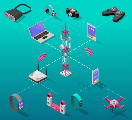 Isometric Internet Technology Concept Illustration