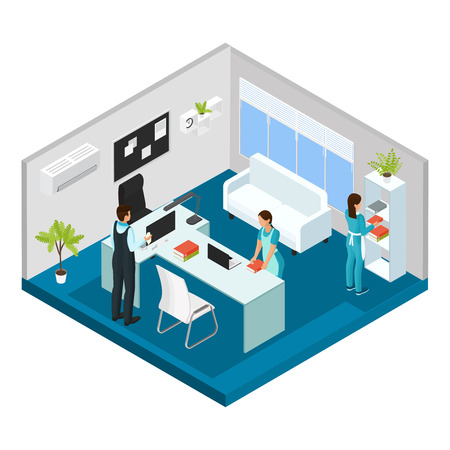 Isometric Professional Cleaning Service Concept Illustration