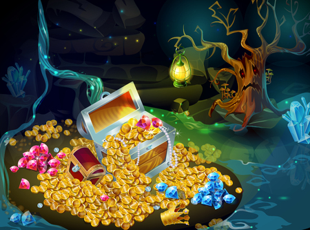 Cartoon Game Treasure And Trophies Background Stock Illustratie