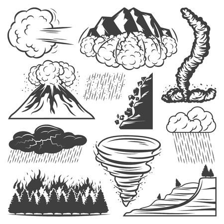 Vintage Natural Disasters Collection Illustration