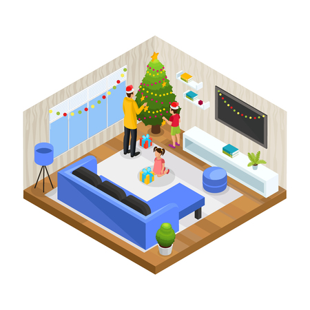 Isometric Winter Family Holiday Concept Illustration