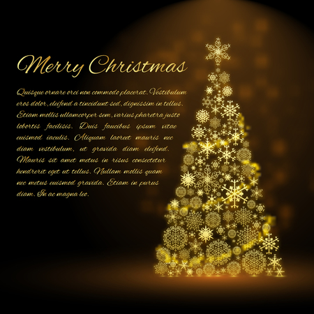 Merry christmas background with text field and shiny decorated fir tree flat vector illustration Illustration