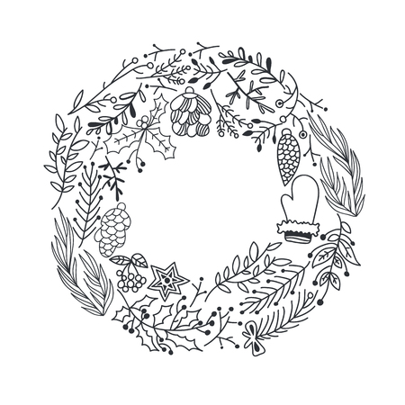 Hand Drawn Christmas Round Wreath Ilustracja