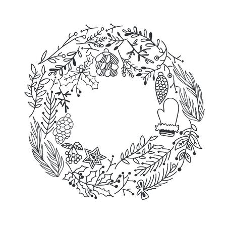 Hand getrokken kerst ronde krans Stock Illustratie