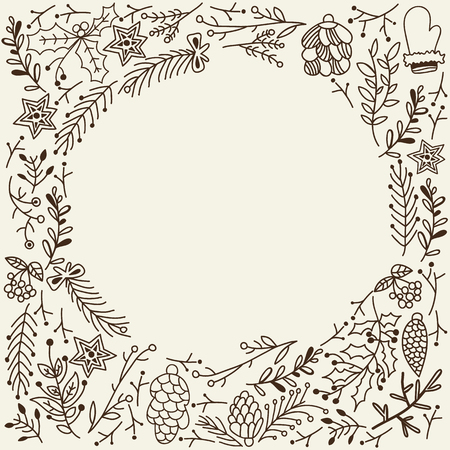 Christmas Winter Floral Sketch Template