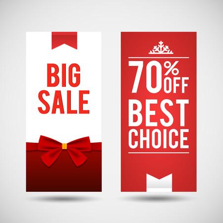 Vector Set Of Two Christmas Big Sale Banners