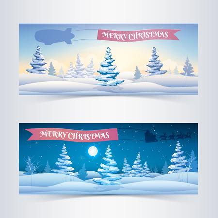 Seasonal Festive Horizontal Banners Illustration