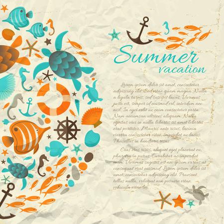 海の漫画のアイコンとテキストフラットベクトルイラストレーションとヴィンテージスタイルで夏休み紙の背景
