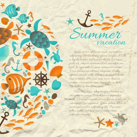 Summer vacation paper background  in vintage style with sea cartoon icons and place for text flat vector Illustration