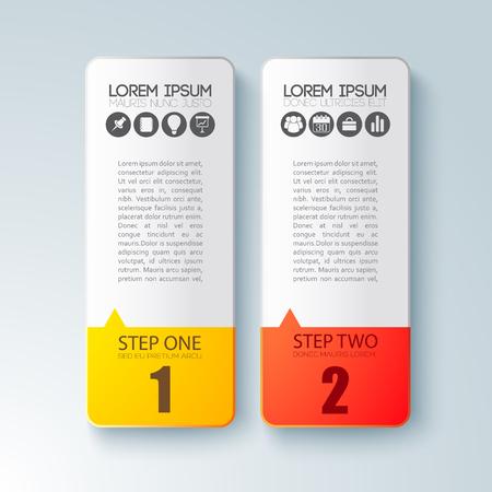 Stap voor stap Infographic bedrijfsmalplaatje met vlakke vlakke vectorillustratie van twee karton de verticale platen Stockfoto - 92037687