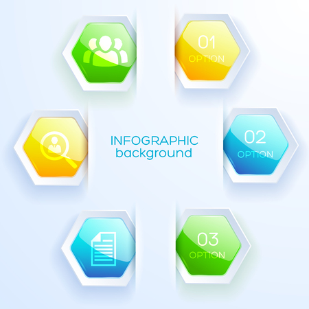 Business infographic white paper background with five colored hexagon stickers for web design flat vector illustration Illustration