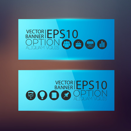 Abstract business horizontal banners in blue color with icons on blurred background isolated vector illustration  イラスト・ベクター素材