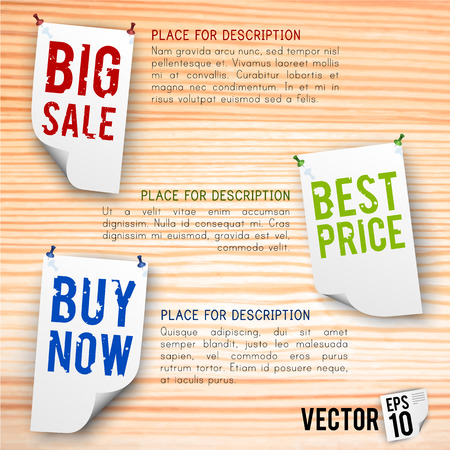 Discount and sales poster with labels and advertisement symbols on wooden background vector illustration Illustration