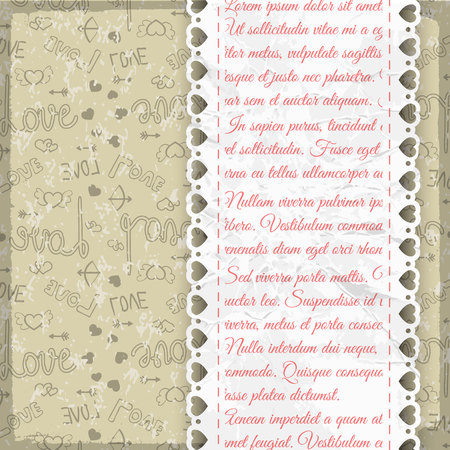 Light colored frill romantic seamless pattern with doodles and link text on white paper strip vector illustration Illustration