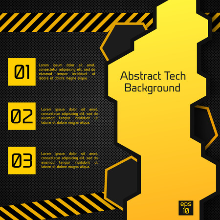 Abstract tech background poster with lines as zebra crossing, figures in the yellow squares and text in the shapes on the black field vector illustration