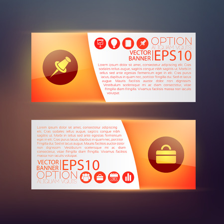 Business infographic horizontal banners in red color with text and icons on blurred background isolated vector illustration