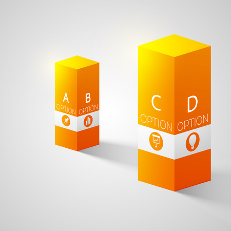Abstract web infographic concept with two 3d orange columns four options and business icons isolated vector illustration Illustration