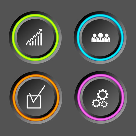Web business infographic elements with round buttons colorful edging and icons on dark background vector illustration Illustration
