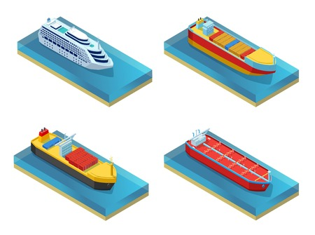 Isometric Water Transport Set Vector illustration. Çizim
