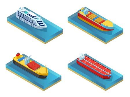 Isometric Water Transport Set Vector illustration. Illustration