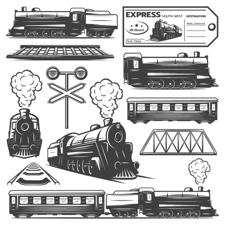 Vintage monochrome locomotive elements collection with train wagons railroad ticket traffic light isolated vector illustration Vettoriali