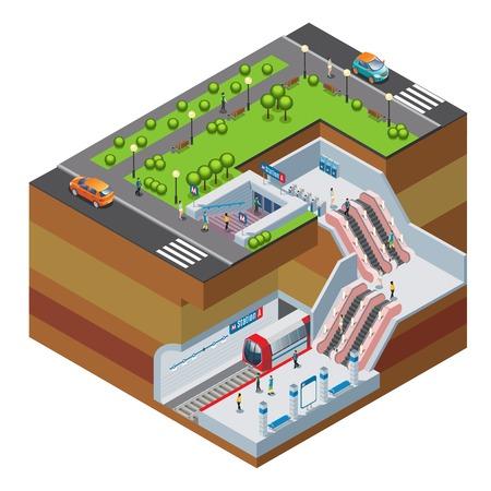 Isometrisches U-Bahnstationskonzept mit Zug-U-Bahnrolltreppentorkartenmaschinenpassagier-Autostadtpark lokalisierte Vektorillustration