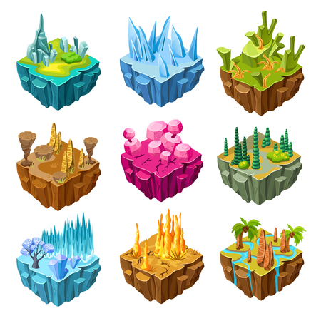 Isometric colorful game islands set with crystals swamp desert forest ice rocks tropical landscapes isolated vector illustration Illustration