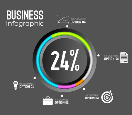Business infographic template with circle colorful edging icons and percentage on dark background vector illustration