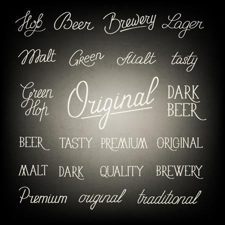 Zwart-witte originele stijlbordaffiche met smakelijke het lagerbierbier, brouwerij en anderen van de woorden traditionele premie betreffende de beroemde vectorillustratie van de hopdrank Stock Illustratie