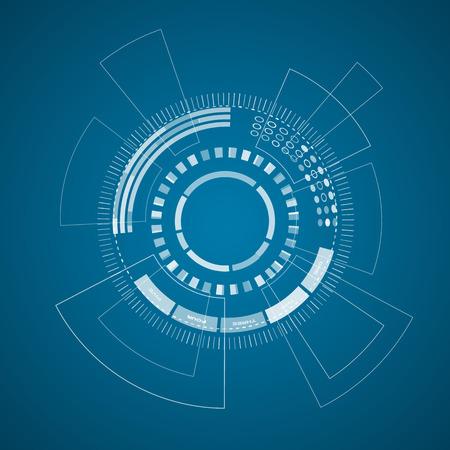 青いフィールドベクトルイラストに様々な技術要素や形状を持つ現代の仮想技術の背景ポスター。