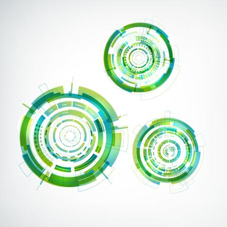 다른 크기 플랫 벡터 일러스트 레이 션의 3 추상 다채로운 동그라미와 가상 기술 흰색 배경