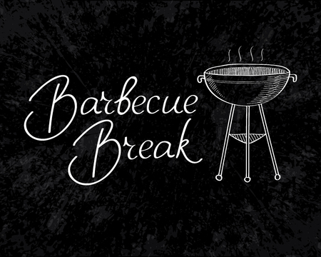 Typographical Barbecue Break inscription template with grill on dark background isolated vector illustration